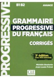 Grammaire progressive du Francais avance corriges B1 B2 3 edycja